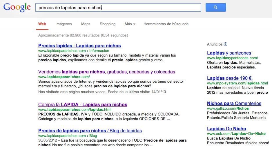 busqueda en google de la frase: precios de lapidas para nichos