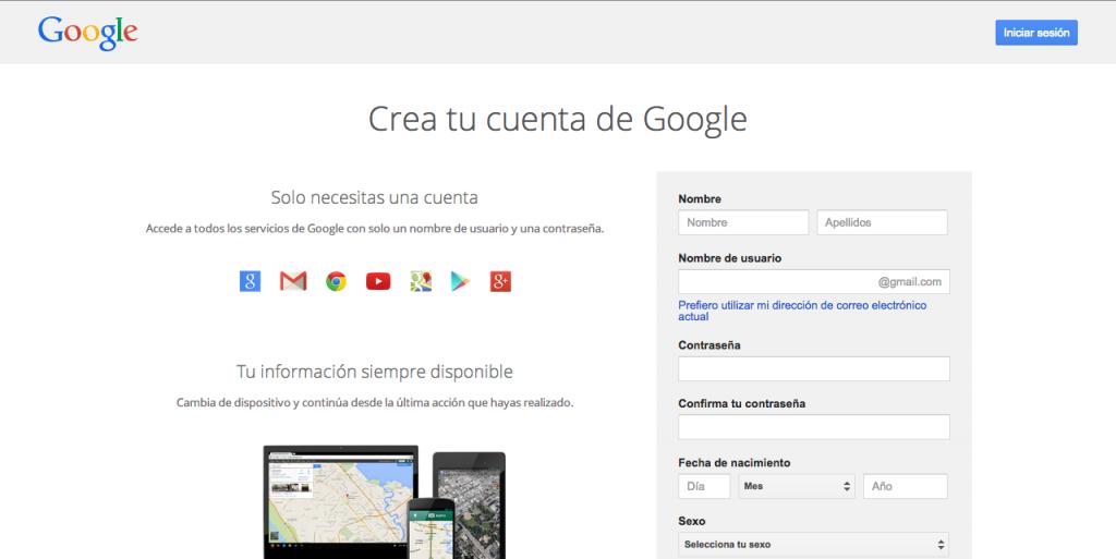 2.crear cuenta google