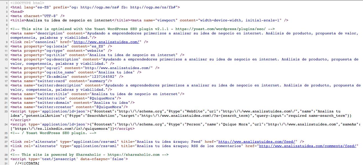"""Este es el código fuente de la página, tal como lo """"lee"""" google"""