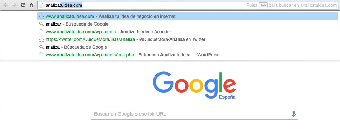 Tráfico directo en google cuando tecleamos la URL de una web