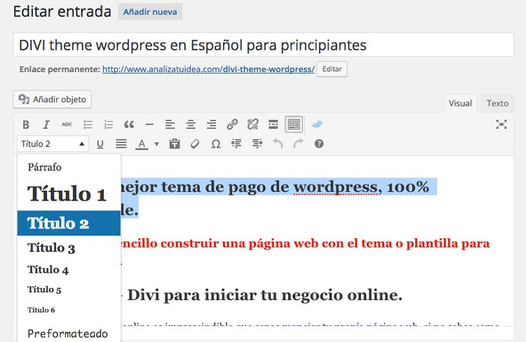 Subtitulos en h2 y h3 wordpress
